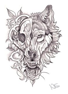 Neo traditional wolf and skull tattoo
