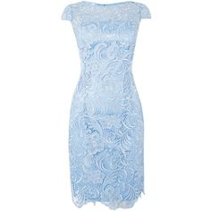 Adrianna Papell All over guipure lace dress ($85) ❤ liked on Polyvore featuring dresses, blue, clearance, lace cocktail dresses, shift dresses, blue dress, lace dress and cocktail party dress