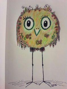 #Happy Bird  Idee von Clarissa Hagenmeyer  Polychromos und Staedtler Triplus Fineliner