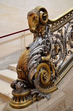 Château de Chantilly - Escalier d'honneur These railings are cast brass, cast iron, and wrought iron. Stairways, ideas, stair, home, house, decoration, decor, indoor, outdoor, staircase, stears, staiwell, railing, floors, apartment, loft, studio, interior, entryway, entry.