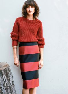 February look we love, Langley Fox in stripes and a sweater.  Photograph by Lauren Dukoff; styled by John Olson; W magazine October 2013.