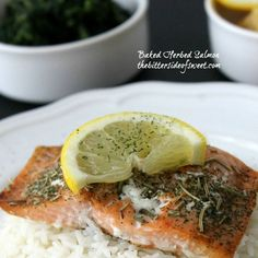 Baked Herbed Salmon Recipe Main Dishes with salmon fillets, dill weed, dried rosemary, parsley, salt, pepper, lemon