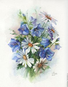 Купить Летний букет - комбинированный, ромашки, колокольчики, букет, полевые цветы, акварельная живопись, акварель