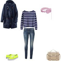 What to wear? 11 april: #strepen met een simpele #jeans en #fluo sneakers  http://www.styletoday.be/mode/94210/what-to-wear-11-april #WTW