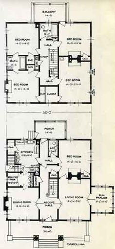 Five bedroom house plans two story unique house floor for Carolina plan room