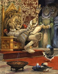 King Louie (Signed Limited Edition Giclee Print) - A Tudor king lion looks unimpressed by the puffin prince's gift.