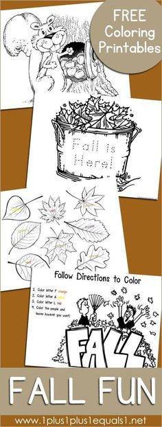 Fall Fun ~ Just Color! Free Fall Fun Coloring ~ coloring pages and coloring activities for kids Autumn Activities For Kids, Fall Preschool, Fall Crafts For Kids, Color Activities, Preschool Crafts, Thanksgiving Crafts, Fall Coloring Pages, Coloring Pages For Kids, Kids Coloring