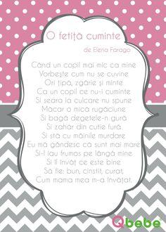 O fetita cuminte Kids Poems, Kids Education, Words, Bebe, Rome