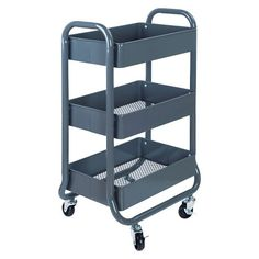 • Sturdy, all-metal construction<br>• Locking wheels<br>• Assembly required<br><br>Get your organizational wheels in gear with the Room Essentials 3 Tier Rolling Cart - Gray. Perfect for home, office, dorm, studio, garage, crafts room, laundry—you get the picture: it's convenient everywhere. Easy to roll materials to the work room, easy to roll them away when you're done. You'll wonder how you got along without it.
