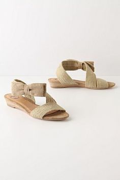 textured bowtie sandals, wedge jute... by Lucky Penny -- chunky straps