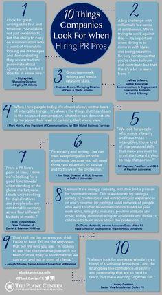 Infographic van 10 zaken waar organisaties op letten bij het selecteren van communicatieprofessionals.