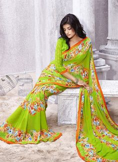 Everyone will admire you when you wear this clad to elegant affairs. This multi colour georgette casual saree is accenting the gorgeous feeling. This attire is encrafted with print work. Comes with ma...