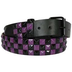 Purple & Black Check Pyramid Spike Belt ($13) ❤ liked on Polyvore featuring accessories, belts, purple, pyramid belt, spike belt, purple belt, grommet belt and checkered belt