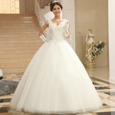 $88.10 Graceful Plunging Neck Beading Embroidery Flower Floor Length Wedding Dress For Bride