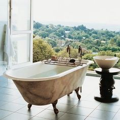 Nice Views Of Nature - A Dream Bath.great idea for our private island home Bad Inspiration, Bathroom Inspiration, Sweet Home, Dream Bath, Bathroom Windows, Open Bathroom, Master Bathroom, Bathroom Tubs, Interior Decorating