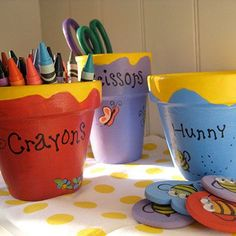 These Pooh-inspired honey pots are perfect for keeping craft supplies close at hand. Let preschoolers personalize theirs to make these bee-utiful keepsakes.