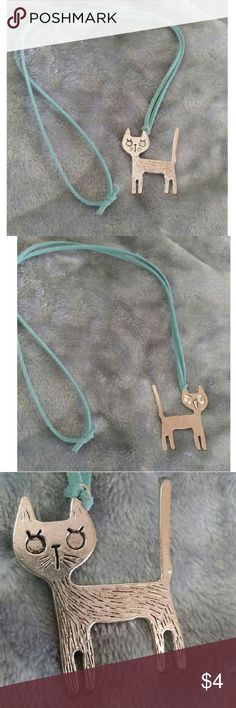 """Sad kitty necklace pendant Handmade sad kitty pendant on 13"""" suede blue string. Jewelry Necklaces"""