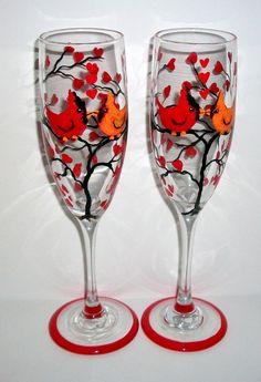 SALE / Cardinals in Love Love Birds by SharonsCustomArtwork, $35.00