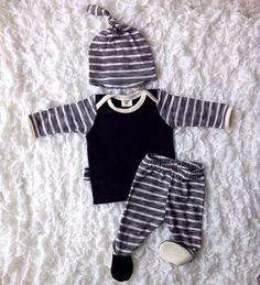 Newborn stripes going home outfit baby boy by BeeBoppinBaby
