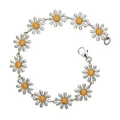 Silver Daisy Bracelet And Gold Jewellery Necklace Ring