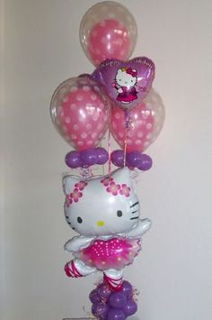 Balloon Character Bouquet for a Hello Kitty Birthday Party