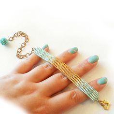 Ombre Bracelet with Blue and Gold Glass Beads - Beadwork Bracelet - Dicope Soul Bracelet