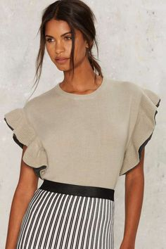 Nasty Gal Cap Time Ruffle Sweater - Utility Chic   Best Sellers   Blouses   Tops