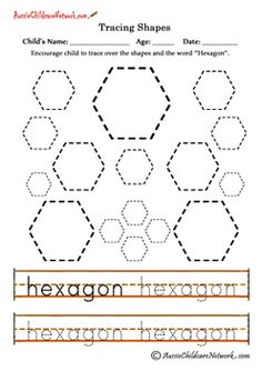 Worksheet Hexagon Worksheets kindergarten geometry and the ojays on pinterest teaching shapes tracing hexagon