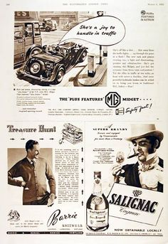1952 MG TD Series Roadster Classic Vintage Print Ad