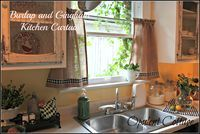From The Farm Favorite!  Burlap Sack Kitchen Curtains.  Sweet!