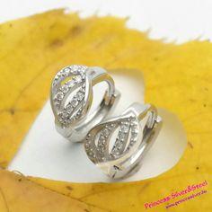 Kristályos levél, ezüst fülbevaló. részletek itt: www.princessilver.hu