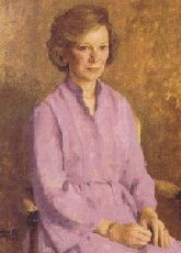 """Official White House Portrait of Eleanor Rosalynn Smith Carter (by George Augusta, 1984) ~ the 39th First Lady of the United States, wife of President James Earl """"Jimmy"""" Carter, Jr. (1977 - 1981). Rosalynn Carter was the 1st First Lady to make a foreign policy trip."""