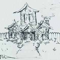 #cottage #house #sketch #home #drawing #pen #illustration #art #artist #illustrator #draw #frontyard #doodle #frontdoor