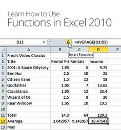 Functions in Excel 2010