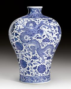 style iconic <3 blue & white - Meiping Vase, China, Qianlong mark & period.