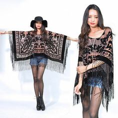 hippie outfits 275001120970693828 - Sheer Nude Fringe Silk Burnout Velvet Hippie Boho Gypsy Festival Cape Poncho Source by mehitabelrose Boho Gypsy, Hippie Boho, Mode Hippie, Gypsy Style, Hippie Style, Diy Fashion, Fashion Dresses, Womens Fashion, Hippie Fashion