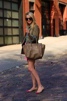 nude flats + pink skirt + chambray shirt + utility jacket