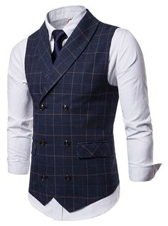 Generic Mens Stylish Sleeveless Business Suit Button Down Vests Waistcoat Men Casual, Mens Suit Vest, Men's Waistcoat, Mens Suits, Waistcoat Men Wedding, Stylish Mens Fashion, Suit Fashion, Fasion, Double Breasted Waistcoat