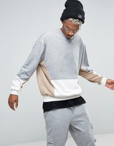 Image 1 of ASOS Oversized Sweatshirt with Cut And Sew Panel