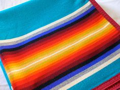 Pendleton Beaver State Wool Blanket Western Banded Striped Serape Trade Blanket TURQUOISE Twin Full Queen from The Back Part of the Basement...