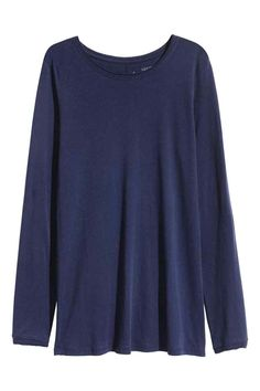 Long-sleeved top - Dark blue - Ladies   H&M GB