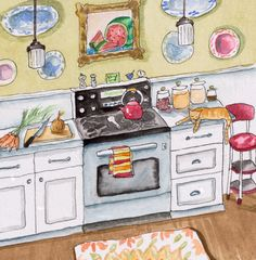 Cat in the Kitchen print - small and delicate. $15,00, via Etsy.