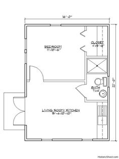 16'x22' one bedroom, one bath cottage (352 SF) by Historic Shed