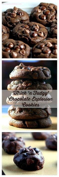 'Thick 'n Fudgy' Chocolate Explosion Cookies (Baking Desserts Recipes) Cookie Desserts, Chocolate Desserts, Just Desserts, Chocolate Chip Cookies, Delicious Desserts, Dessert Recipes, Yummy Food, Chocolate Chips, Chocolate Crinkles