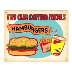 Hambuger soda fries gift sign vintage style / for deli restaurant wall decor