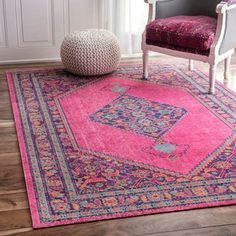 nuLOOM Vintage Persian Border Pink Rug (5' x 7'5) | Overstock.com Shopping - The Best Deals on 5x8 - 6x9 Rugs