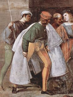 Italian youth wears striped hose, a doublet with puffed upper sleeves, and a voluminous cloak, 1510.