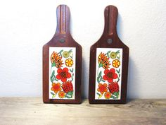 Bright and Retro! Wood Tile Trivet  Vintage Hot Pad  Mid Century by ZenDenVintage, $26.00