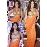 sunny-leone-orange-saree