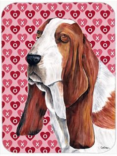 Basset Hound Hearts Love and Valentine's Day Portrait Glass Cutting Board Large